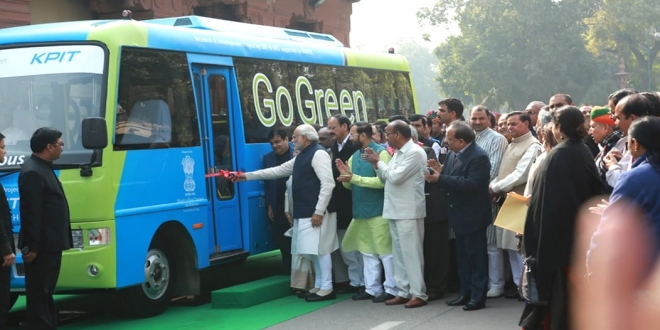 Hon. Prime Minister of India Shri Narendra Modi flagged off the Smart Electric Bus, an indigenous technology developed global technology company KPIT in association with CIRT, at the Indian Parliament on 21st December 2015