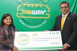Subway Donates Rs 1.5 Million for Under Privileged Children in India
